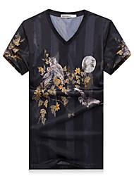 Men's Fashion Slim Silk T-Shirt ,Cotton / Polyester Casual / Plus Sizes Print