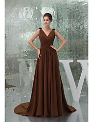 Cathedral Train Chiffon Bridesmaid Dress Ball Gown V-neck
