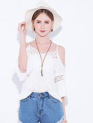 Women's New Style Sexy Cut Out Lace Splicing Lacework Loose  Strap Plus Size Top