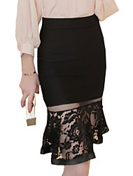 Women's Solid Red / Black Skirts , Sexy / Club Knee-length