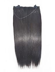 New Fashion 100g/bag Long Straight Human Hair Flip in Halo Hair Extensions Fish Line Hair weaving Black