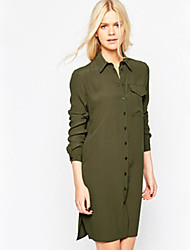 Women's Simple Solid Shirt Dress , Shirt Collar Knee-length Polyester