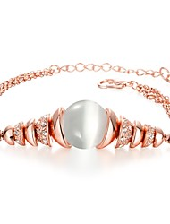 Novel Women's Rhinestone Opal Rose Gold Plated Tin Alloy Chain & Link Bracelet(Rose Gold)(1Pc)