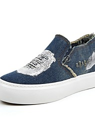 Women's Shoes Denim Platform / Creepers / Round Toe Loafers / Slip-on Outdoor / Casual Black / Light Blue /Dark Blue