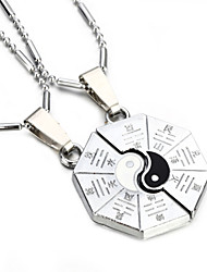 Vilam® Zinc Alloy Black White Tai Chi China Style Couple Necklaces Super Shining Best Friends Necklaces