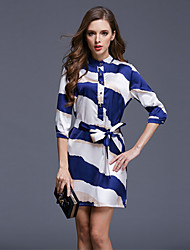 Women's Sexy / Beach Striped A Line Dress , Stand Mini Polyester