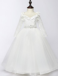 Ball Gown Floor-length Flower Girl Dress - Tulle Long Sleeve V-neck with