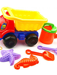 6-Pieces Beach Sand Toys Set with Truck, Water Pot,  2 Hand Tools and 2 Models