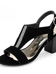 Women's Shoes Leather Chunky Heel Open Toe Sandals Dress Black