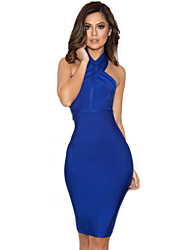 Women's Blue Halter Bandage Dress