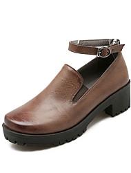 Calçados Femininos - Saltos - Saltos - Salto Grosso - Preto / Marrom - Courino - Casual