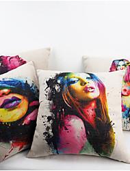 Vintage Cotton Linen Pillow Case Art Colour Beautiful Sexy Girl Printed Cover Decorative Pillowcase 45X45cm