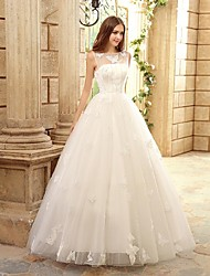 A-line Wedding Dress Floor-length Bateau Tulle with Appliques