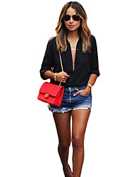 Women's Solid Black Shirt , Shirt Collar Long Sleeve