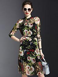 Mulheres Vestido Bainha / Chifon Sexy / Moda de Rua Floral Acima do Joelho Colarinho Chinês Poliéster