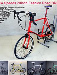 "14 velocidades de 20 ""estrada da cidade de bicicleta gtl ™ dobrar guiador moda retro mans bicicleta de estrada 5 cores kenda pneu de"