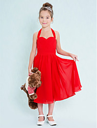 Lanting Bride® Tea-length Chiffon Junior Bridesmaid Dress A-line Halter with Criss Cross / Ruching