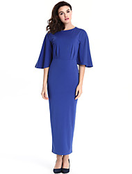 High Quality Women's Vintage Solid Plus Size Dress , Round Neck Maxi Cotton / Polyester