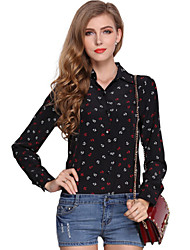 Women's Casual/Daily Simple Spring Shirt,Print Shirt Collar Long Sleeve Beige / Black Polyester Thin