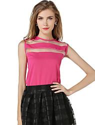 Damen Solide Einfach Lässig/Alltäglich T-shirt,Rundhalsausschnitt Sommer Ärmellos Rot / Weiß / Schwarz / Gelb Polyester Dünn