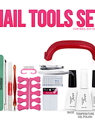 Nail Art Tools 9W UV Lamp & 1 Color Soak Off Gel Nail Base And Top Coat Gel Nail Polish Kit