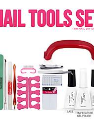 Nagelkunstwerkzeuge 9W UV-Lampe&1 Farbe tränken Gelnagel Grundierung und Lasur GelNagellack Kit aus