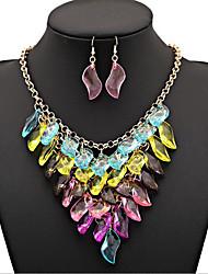 MPL Colorful gem Multi Chain Necklace Set