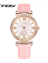 SINOBI® Ladies Quartz Watch Brand Women's Fashion Watches Crystal Pink Leather Multi Dial Female Rose Gold Wristwatches Cool Watches Unique Watches