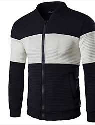 Men's Long Sleeve Jacket , Polyester Casual / Sport Color Block