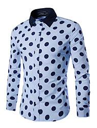 Men's Long Sleeve Shirt , Polyester Work / Formal Print