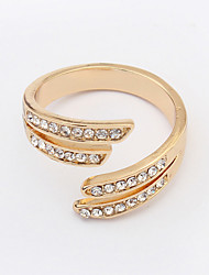 Fashion Alloy / Rhinestone Golden Plated Band Ring