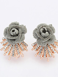 Women European Style Elegant Fashion Shiny Rhinestone Rose Flower Stud Earrings