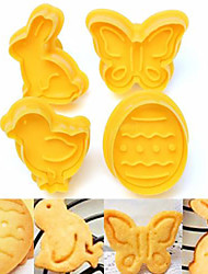 Bird Butterfly Easter Egg Rabbit Fondant Cookie Mould Plunger Spring Cutter,Set of 4