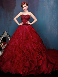 Ball Gown Sweetheart Chapel Train Lace Tulle Formal Evening Dress with Ruffles Sequins by HUA XI REN JIAO