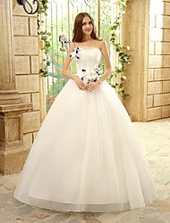 Princess Wedding Dress Floor-length Strapless Tulle with Appliques