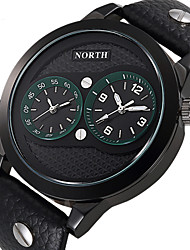 NORTH Dual Time Display Male Sport Watches Genuine Leather Water Resistant Fashion Casual Men Sport Wristwatch Wrist Watch Cool Watch Unique Watch
