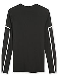 Trenduality® Hommes Col Arrondi Manche Longues T-shirt Noir - 43257