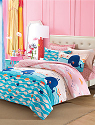 Surprise Price Whale Bedding Set Pink and Blue Sweet Comforter Kids Fish Duvet Cover Cotton couvre lit 4Pcs Queen Size