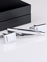 Cufflinks And Tie Clip Silver Metal Jewelry Stripe Cuff Links With Gift Box (1 Set)