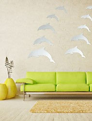 New Arrvial DIY Mirror 10 Dolphins Wall Sticker Home Decoration Art Decal Acrylic Silver Excellent Quality