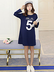 Women's Casual / Day Solid Loose Dress , Round Neck Mini Polyester