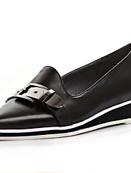 Women's Shoes Cowhide Low Heel Pointed Toe Flats Casual Black