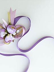 Fleurs de mariage Noué à la main Roses Petit bouquet de fleurs au poignet Mariage / Le Party / soirée Coton