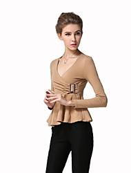 Damen T-Shirt  -  Gerüscht Baumwolle Langarm V-Ausschnitt