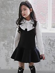 Vestido Chica de-Primavera / Otoño-Poliéster-Negro / Rosa