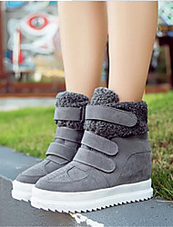 Women's Shoes Fleece Spring / Fall Wedges Fashion Sneakers Outdoor / Casual Wedge Heel Buckle Black / Yellow / Gray