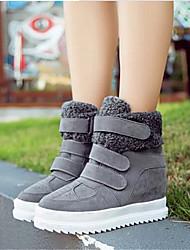 Women's Shoes Fleece Spring / Fall Wedges Outdoor / Casual Wedge Heel Buckle Black / Yellow / Gray