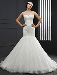 Trumpet / Mermaid Wedding Dress Chapel Train Square Lace with Beading