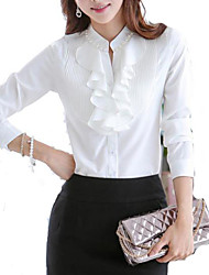 Women's Solid OL Office Lady  Long Sleeve Shirt