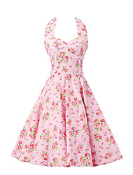 Women's Pink Floral Dress , Vintage Halter 50s Rockabilly Swing Dress